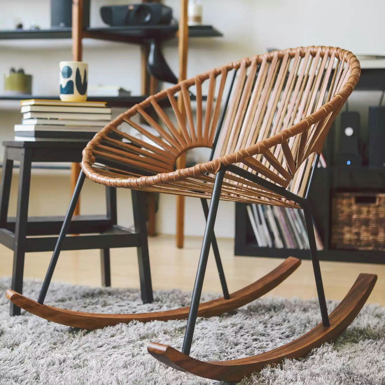 Huckberry Mexa IXTAPA LEATHER ROCKING CHAIR In CAMEL BROWN LEATHER/ BLACK