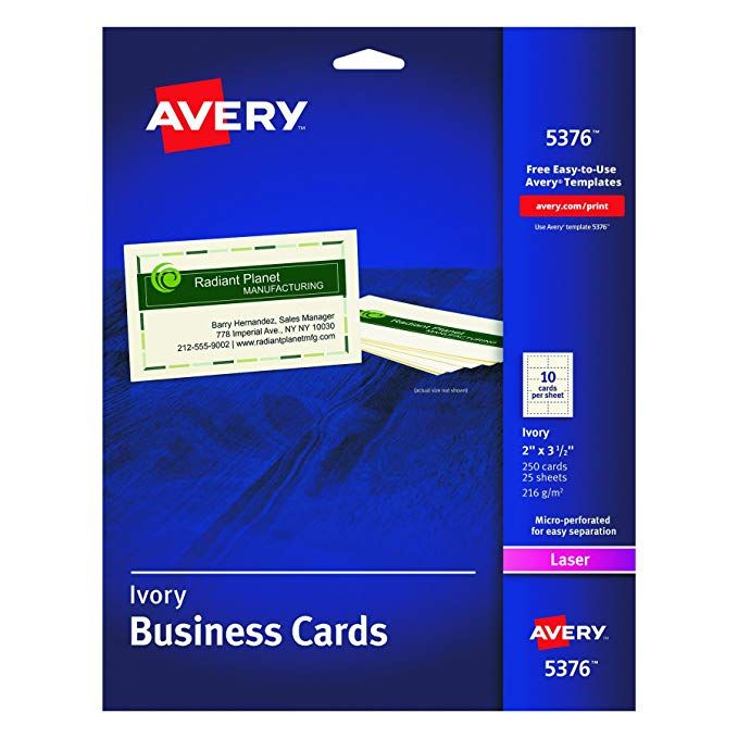 Avery Business Cards For Laser Printers 5376 Ivory Uncoated Pack Of 250 Review Printing Business Cards Office Depot Business Cards Avery Business Cards