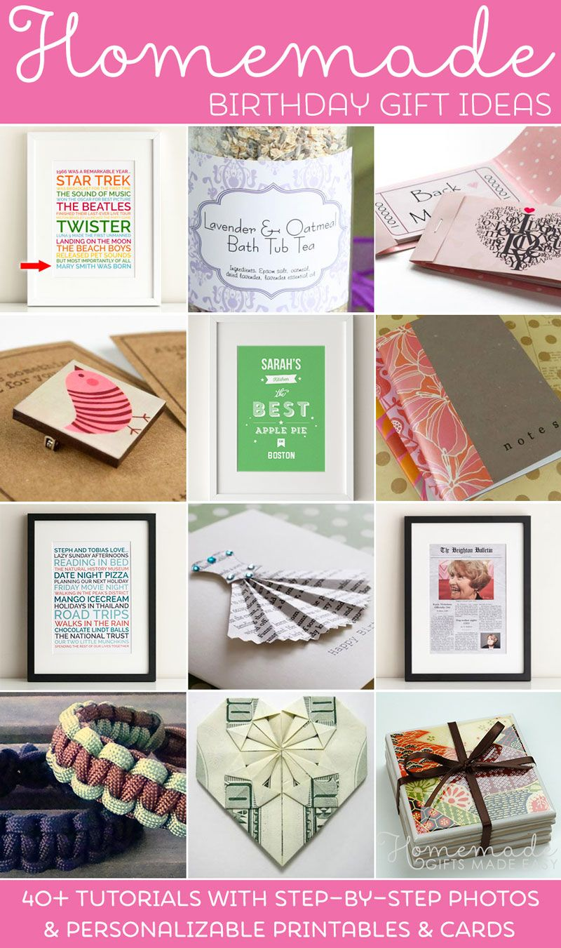 Over 40 homemade birthday gift ideas, with lots of personalizable ...