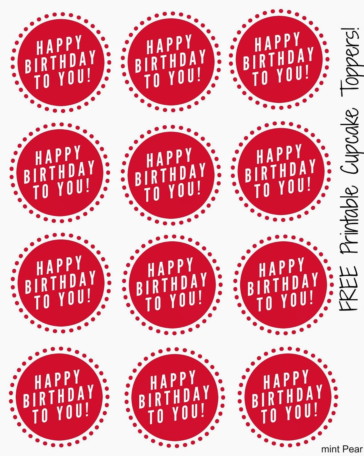 Free Printable Cupcake Toppers (With images) | Cupcake ...