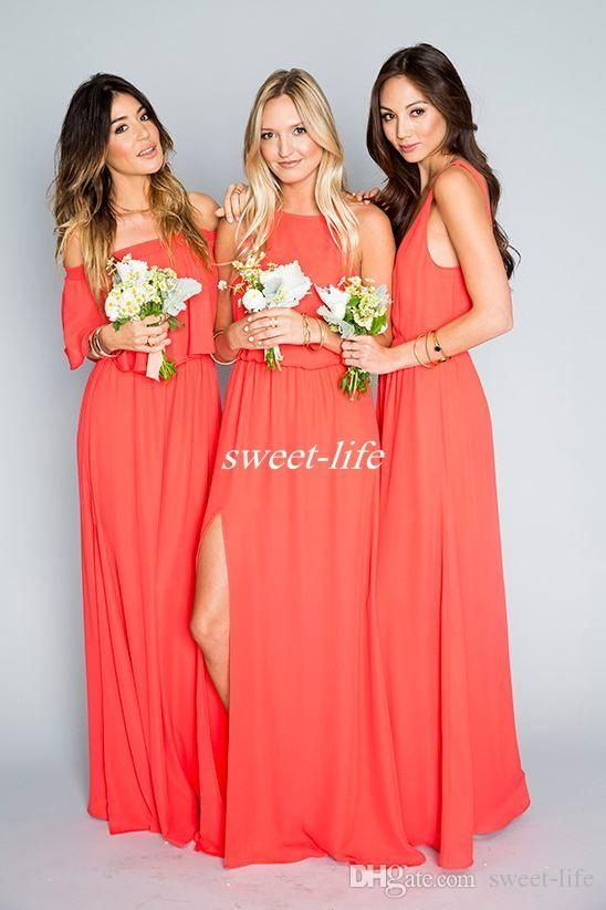 3305a80a21b6 Cheap Beach Wedding Bridesmaid Dresses Coral Orange Chiffon Floor Length  2016 Mixed Style Slit Boho Maid of Honor Dress Plus Size Party Gown