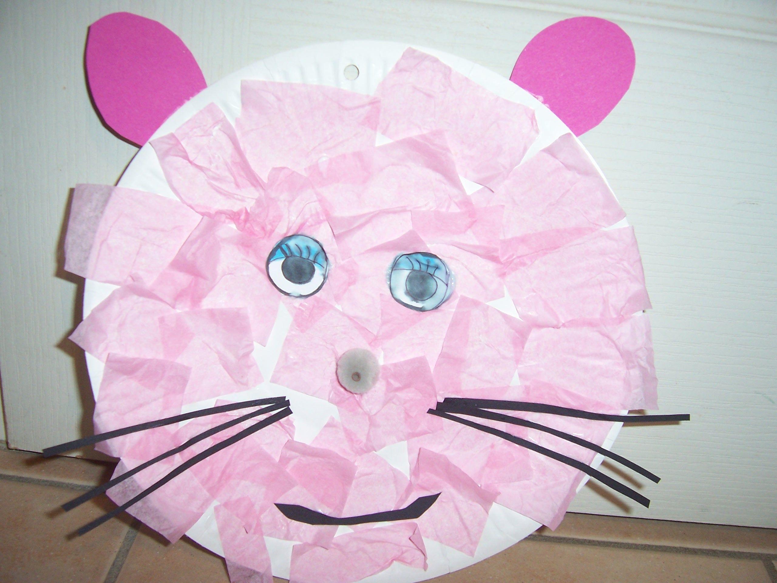 tete de souris papier soie assiette en carton bricolage fait a la maison par les enfants. Black Bedroom Furniture Sets. Home Design Ideas