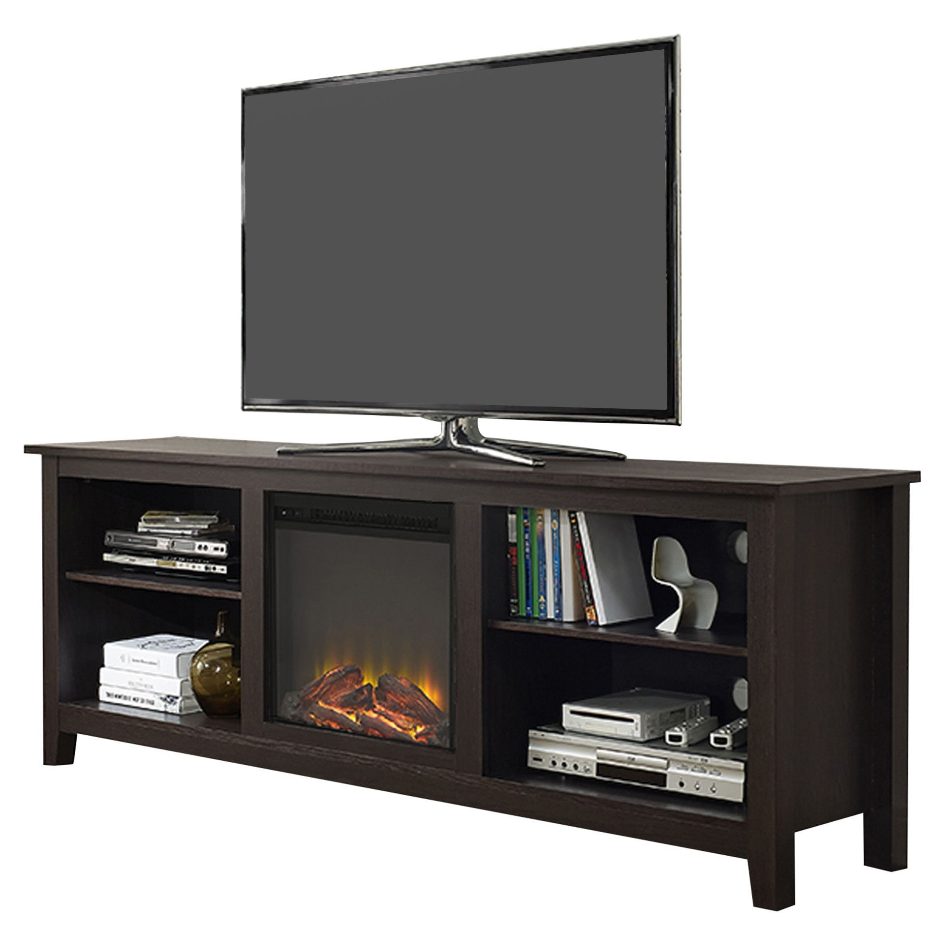 Angel Tv Stand With Electric Fireplace Products Pinterest  # Meuble Tv But Wenge
