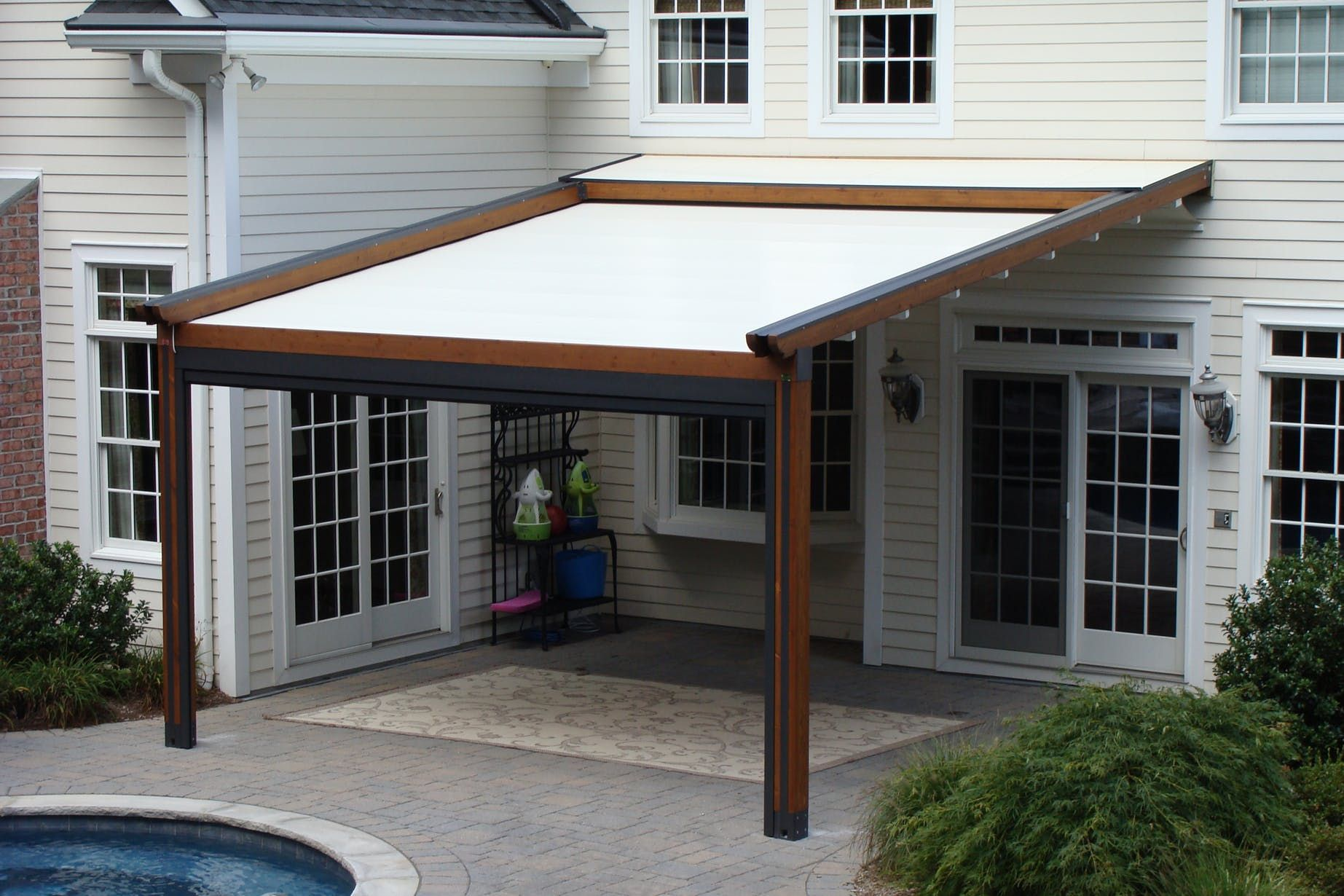 Private Residence Landscape, Pool And Patio Application, Northern NJ    Gennius L1 Model, Retractable Pergola Awning With Integrated Solar Shade |  Richard ...
