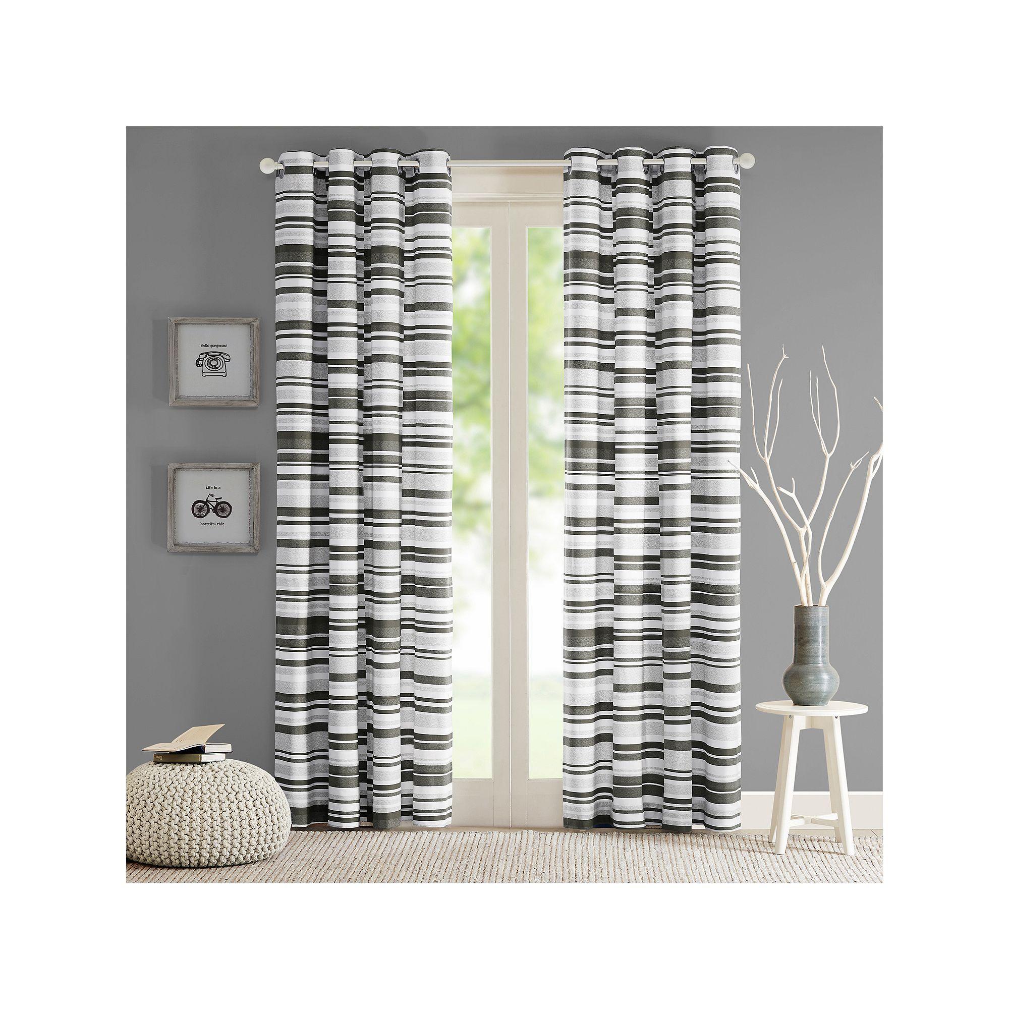Exclusive fabrics painted chevron printed cotton curtain free - Intelligent Design Strider Cotton Stripe Printed Curtain Grey