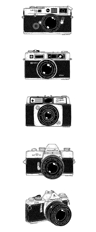 Vintage cameras on behance office kamera zeichnung for Camere dwg