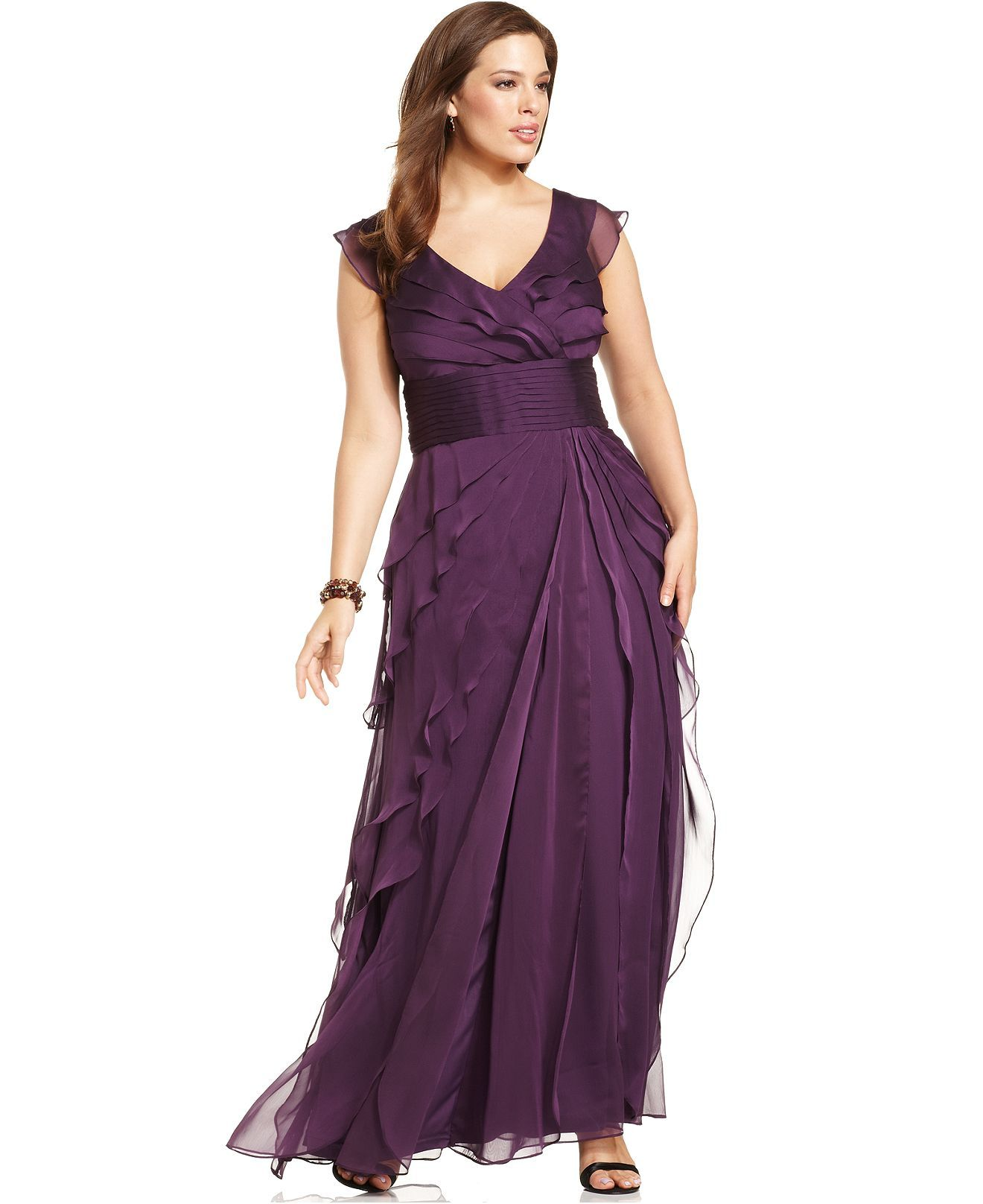Adrianna Papell Plus Size Dress Sleeveless Tiered Empire Waist