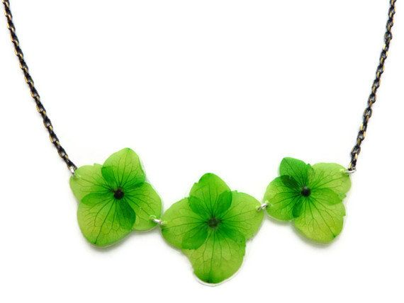 Necklace with green hydrangeas Jewelry with by AmazoniaAccessories