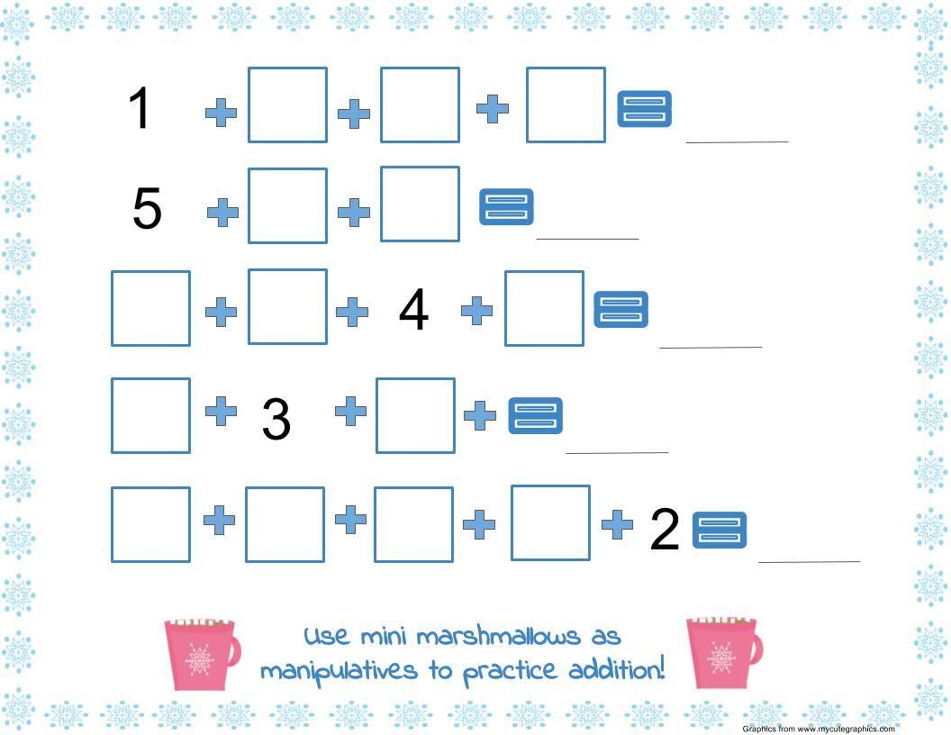 Addition Math Mat With Marshmallows Winter Math Kindergarten Math Mats Addition Math Centers [ 816 x 1056 Pixel ]