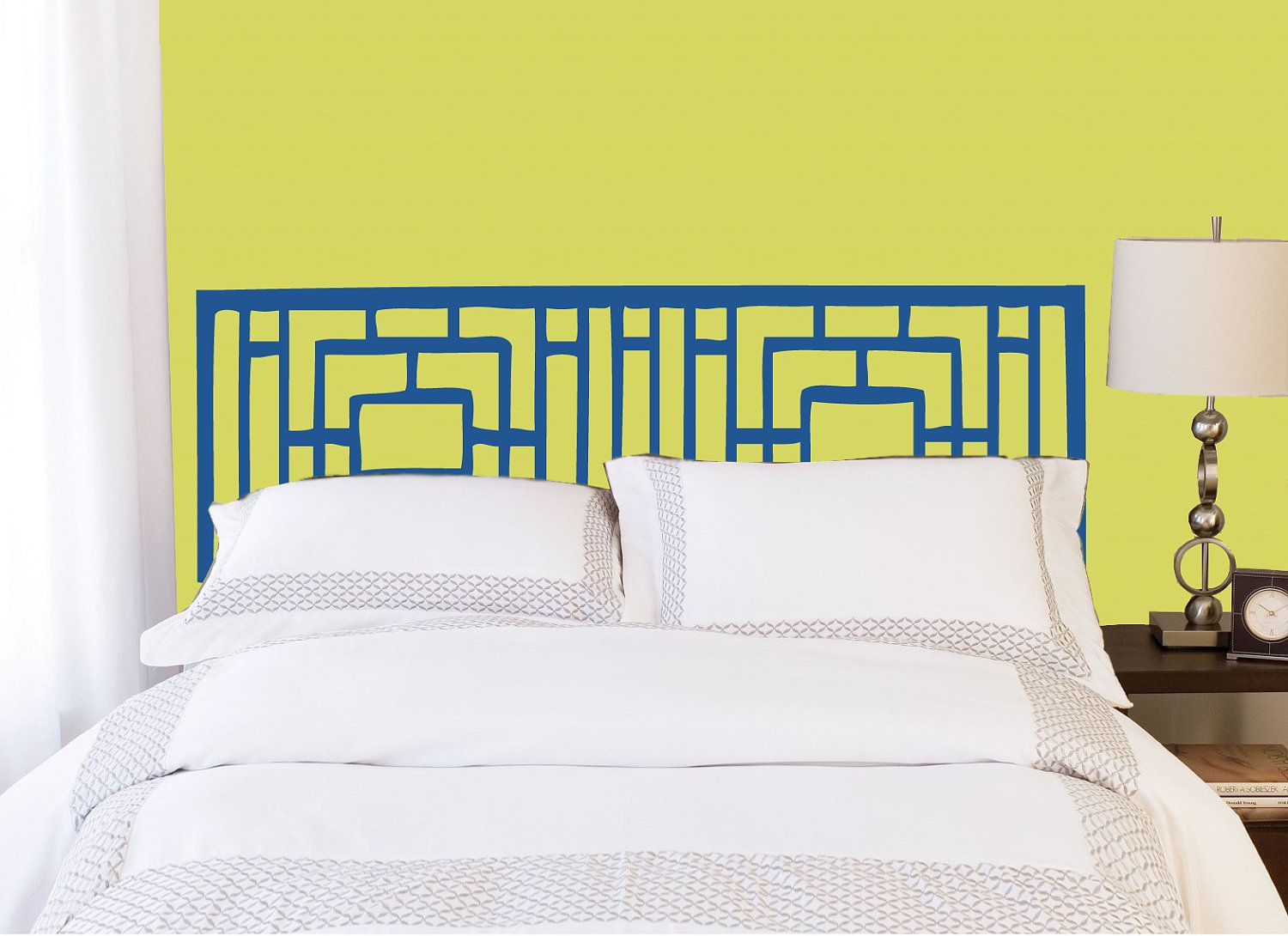 Full/Double Headboard decal - Vinyl wall sticker decal - Geometric ...