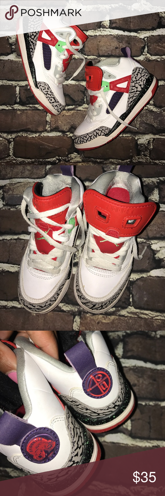 big sale 0175e 23518 NIKE~AIR JORDAN SPIKE LEE 40~Brooklyn Retros~11C Moderate use, no box.  White with red and elephant print grey as primary colors, purple and bright  green ...