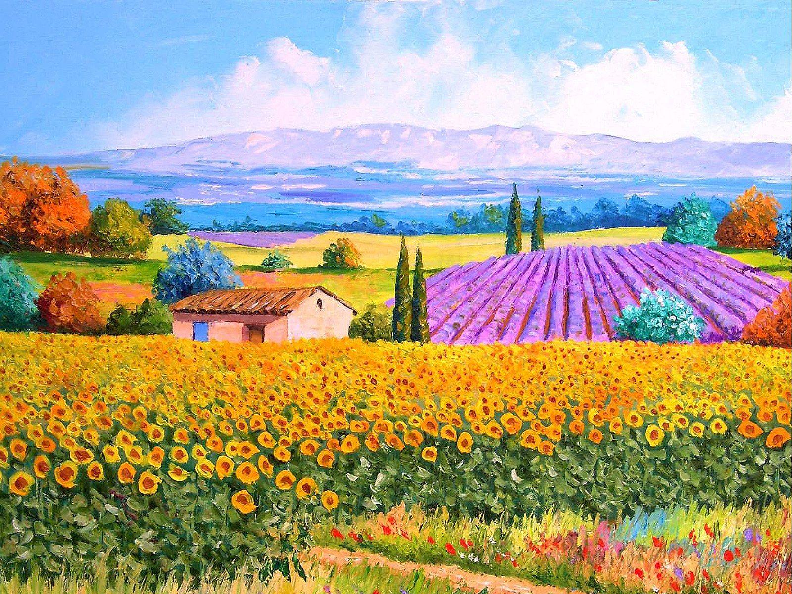 France Country Landscape Jean Marc Janiaczyk Landscape Painting With Palette Knife 1600x1200 No Landscape Paintings Oil Painting Landscape Colorful Landscape