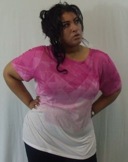 c78e3ed125e Two Tone Pink and White Top -Size 26 28 by Lela Rose for Lane Bryant -100%  Polyester -Width 28
