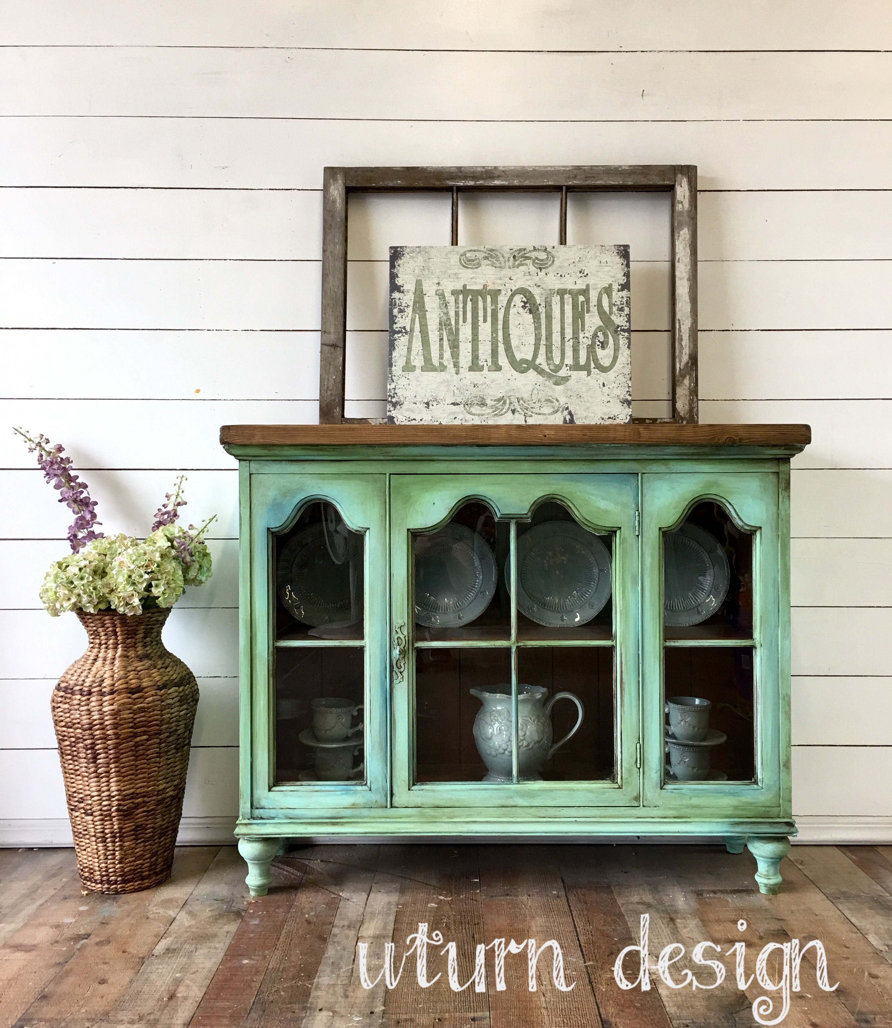 Aqua Painted Glass Cabinet By Uturn Design