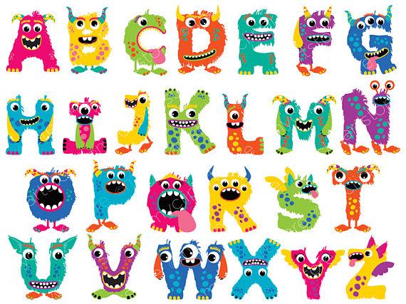 Abc Verjaardag.Leuke Monster Alfabet Clipart Meisje Monsters Verjaardag