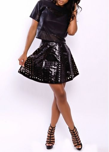 Top and Skirt Artificial leather Black Pierced Dress