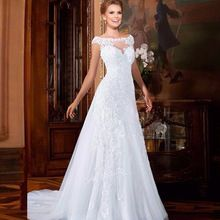 US $104.99 Vestido De Noiva A-Line Floor Length Appliques Tulle Csutomize Lace Elegant Wedding Dress In Stock Robe De Mariage. Aliexpress product