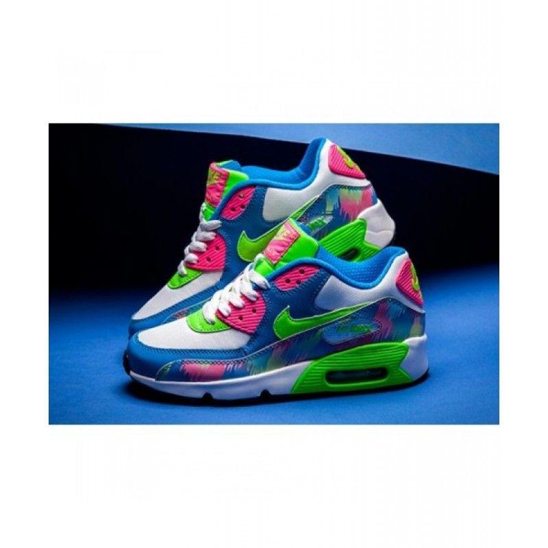 2019 的 Nike Air Max 90 Blue Electric Green Hyper Pink