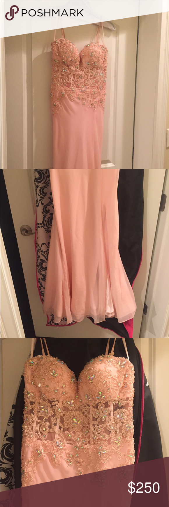 Prom dress size pale pink dress with sequins tailored for