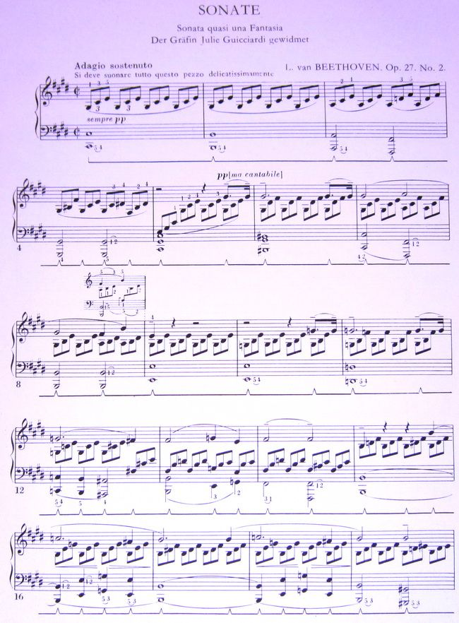 лунная соната ноты для фортепиано облегченный вариант