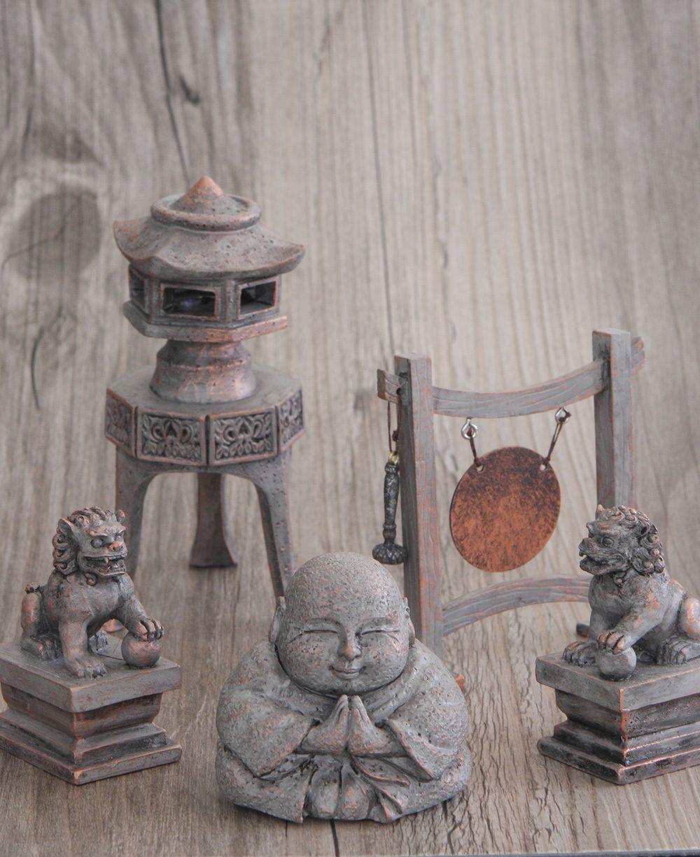 Ancient temple happy buddha statue set