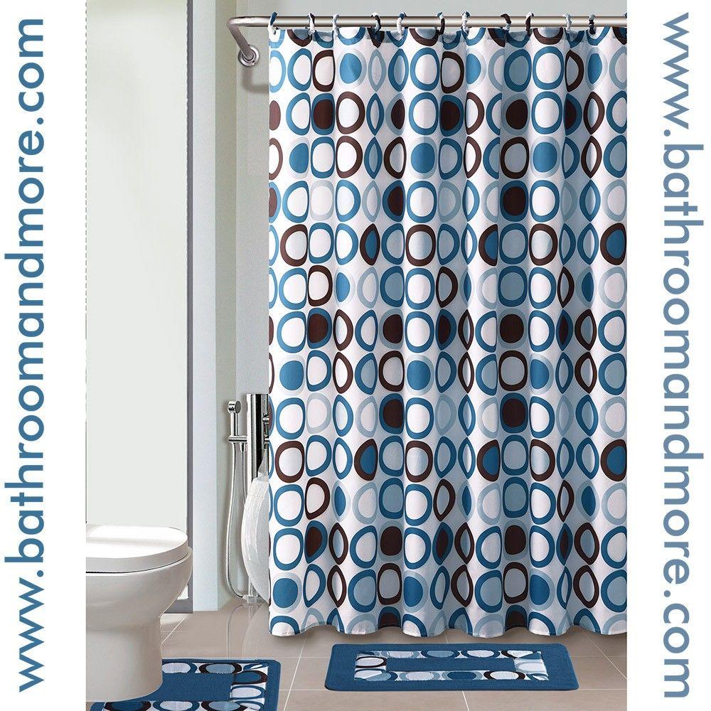Blue Circles Pattern Fabric Shower Curtain Liner With Matching