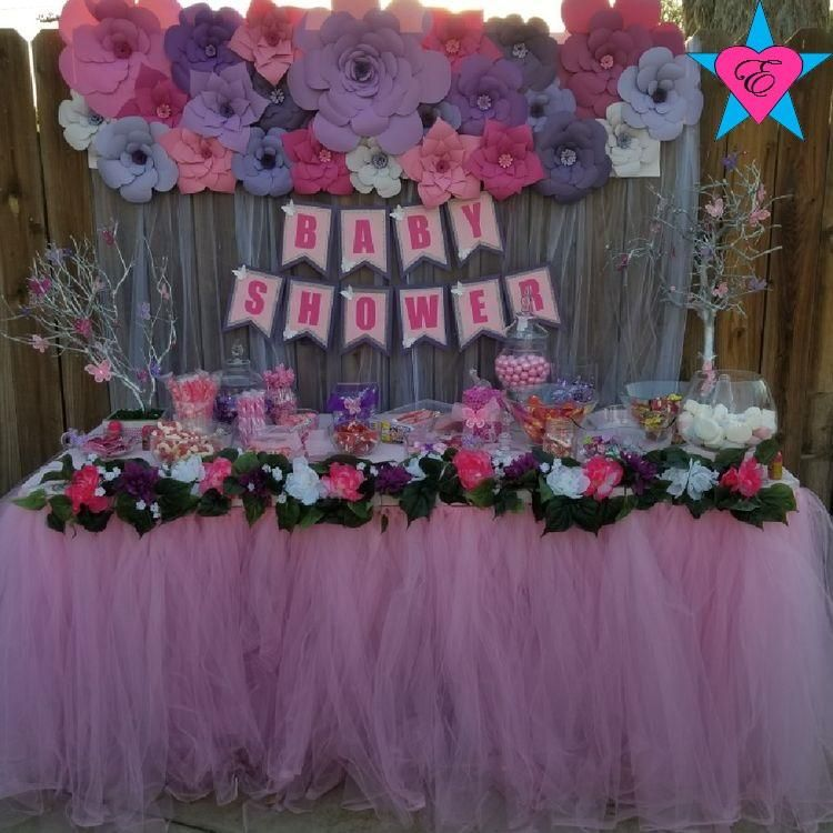 Custom Purple Pink White Floral Tulle Table