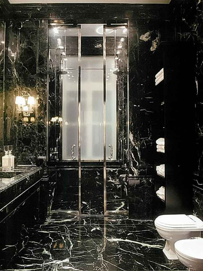 Oh my goodness bathroom done completely in black marble for Marble master bathroom designs