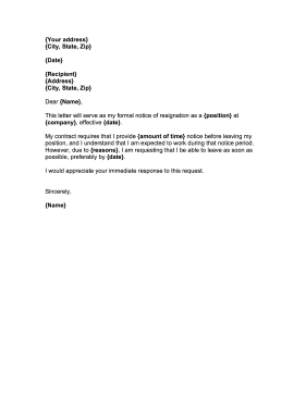 Employees who need to quit on short notice can use this resignation employees who need to quit on short notice can use this resignation letter to negotiate a thecheapjerseys Gallery