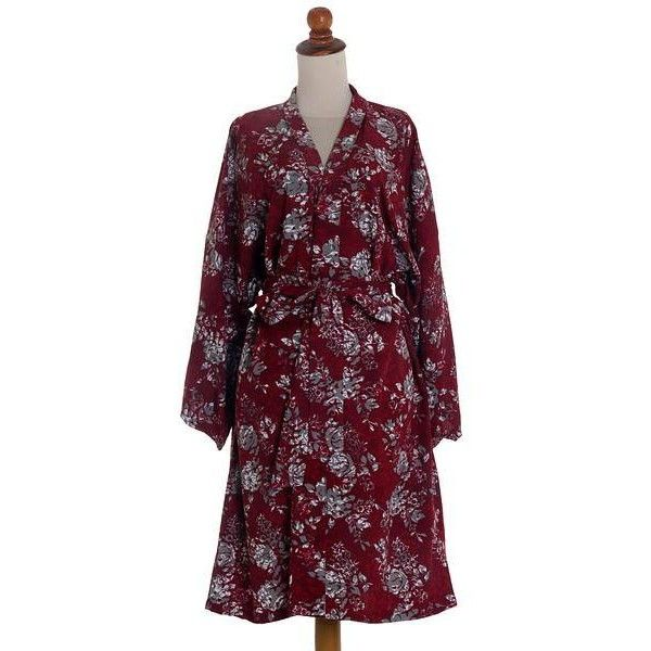 e117642a762 NOVICA Grey Batik Bali Flowers on Claret Color Rayon Short Robe ( 45) ❤  liked on Polyvore featuring intimates