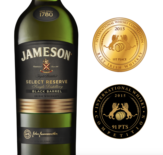 Jameson Black Barrel won the Gold Medal this year for the Best Irish Whiskey with 91 Points.