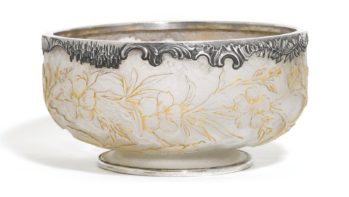 A Fabergé silver-mounted Daum glass bowl, workmaster Julius Rappoport, St Petersburg, 1908-1917.