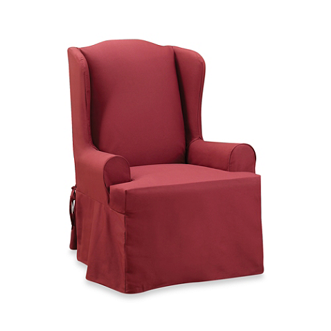 Sure Fit® Twill Supreme Wing Chair Slipcover in Flax (With