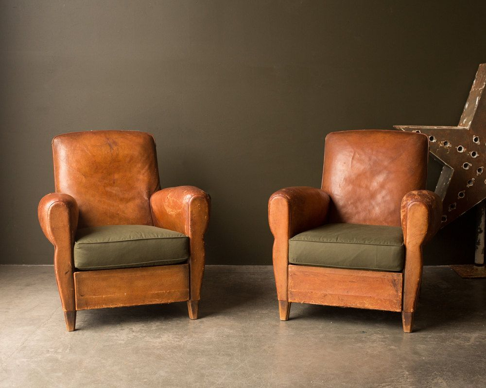 5x Lounge Chair : Vintage furniture s original leather french club chair