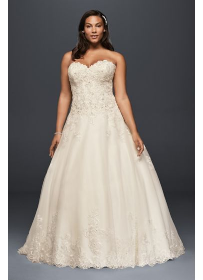 Beaded Lace And Tulle Plus Size Wedding Dress 9V3836