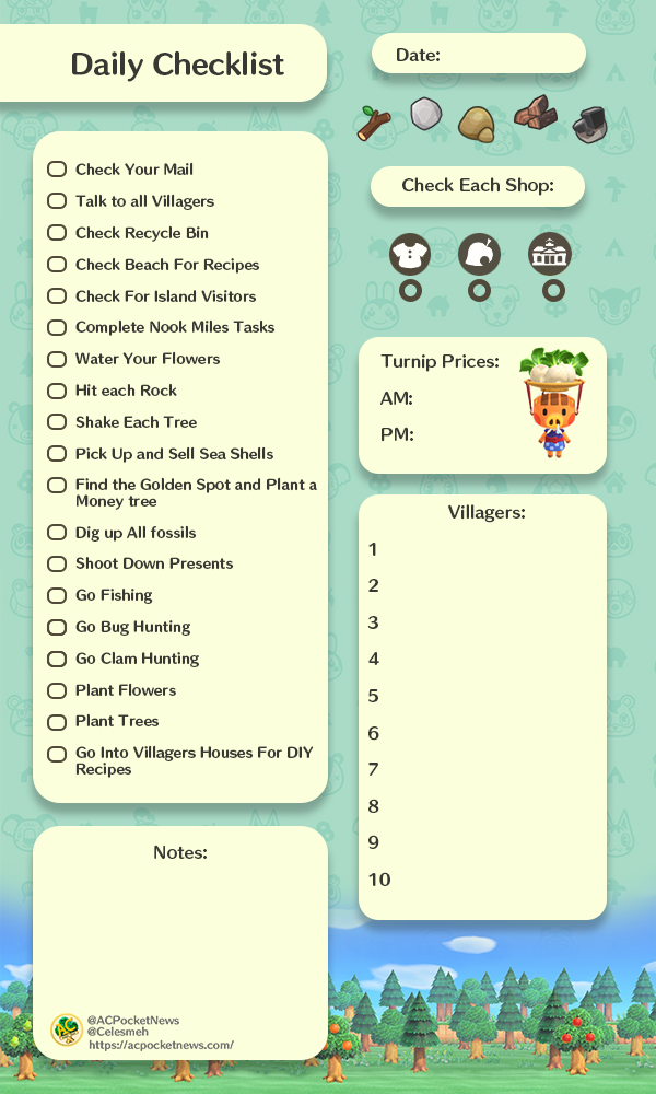 Daily Routines in Animal Crossing: New Horizons