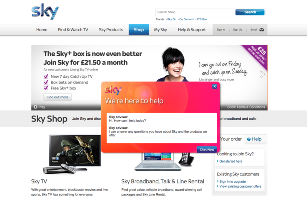 Sky live chat helped to improve sales and customer