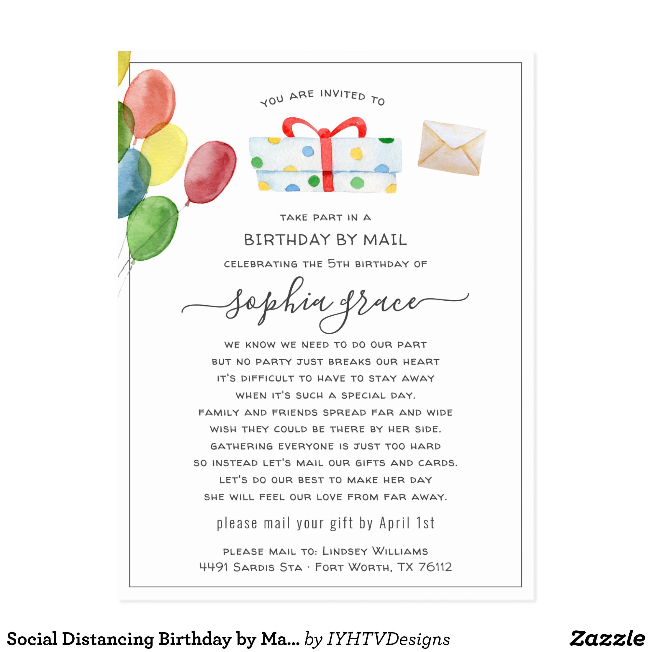 social distancing birthday by mail