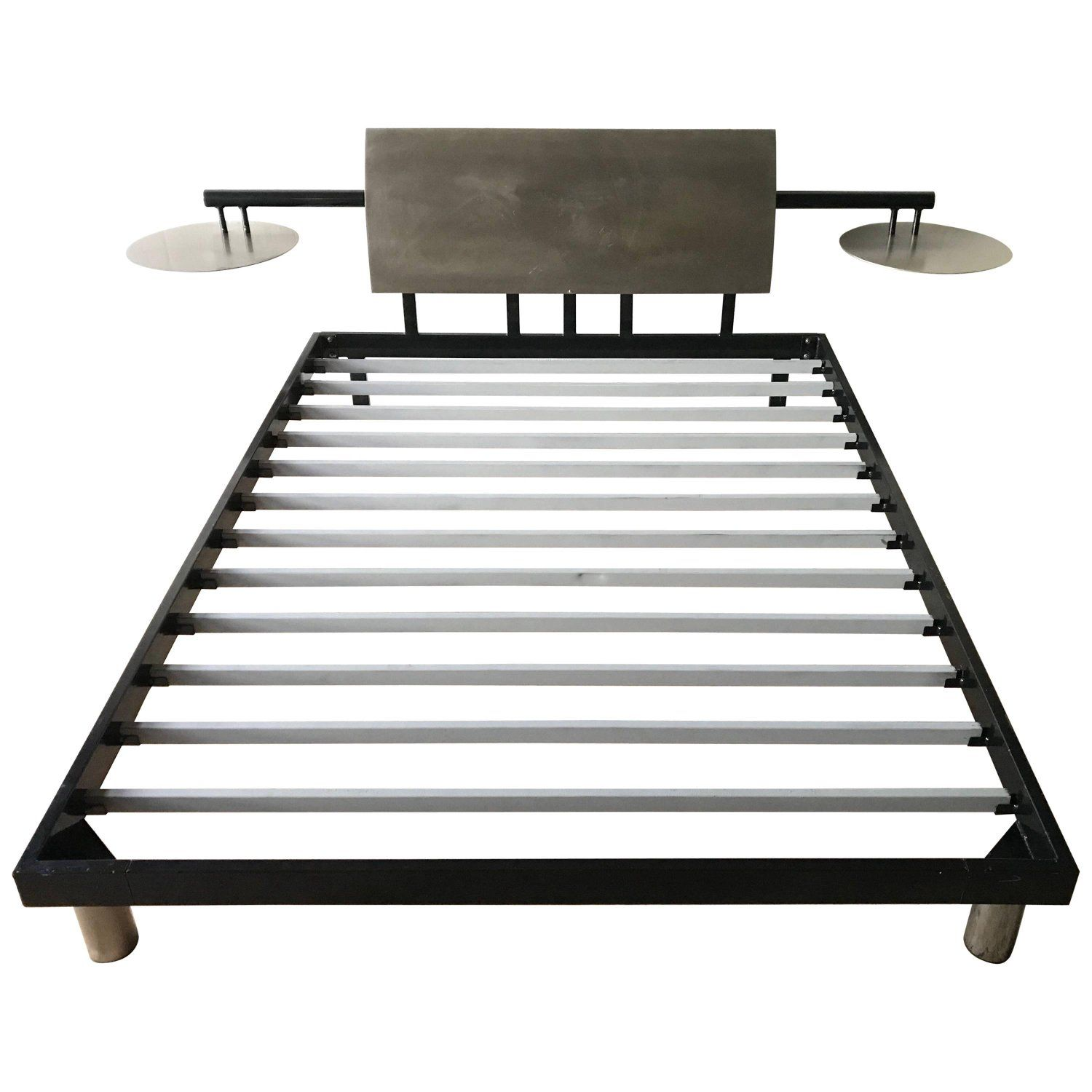PostModern Steel Queen Bed with Integrated Floating