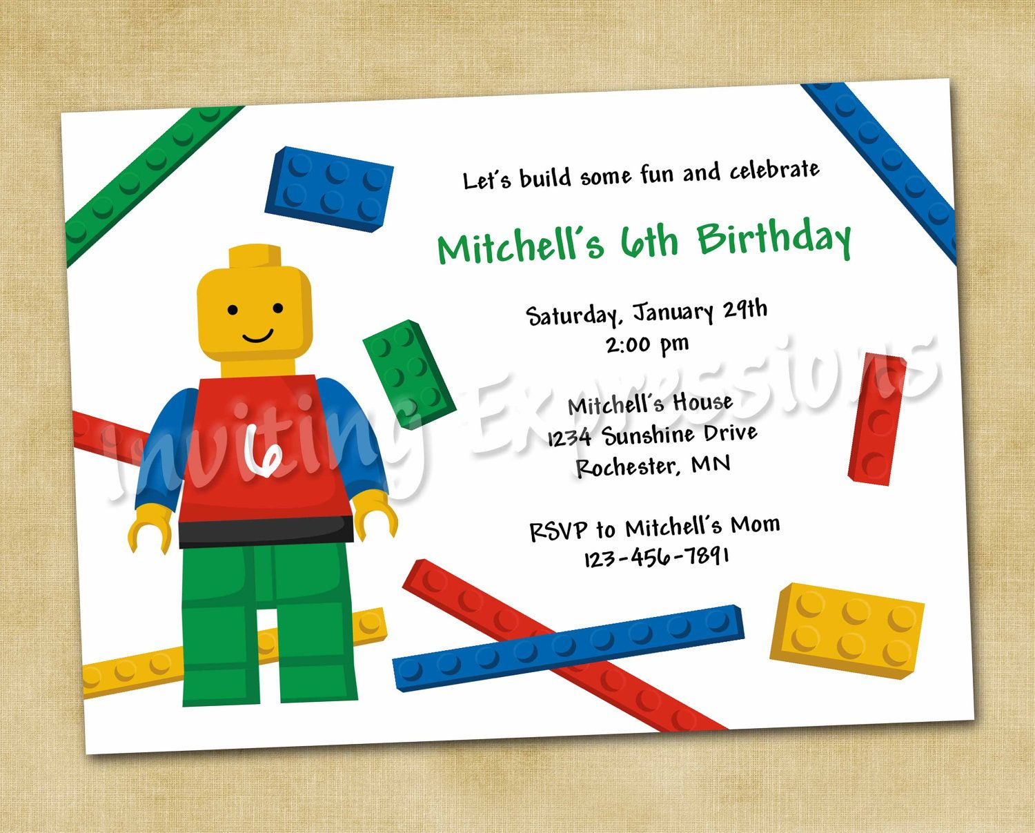 LEGO Blocks Boy Birthday Invitations | Lego / Duplo Party ...