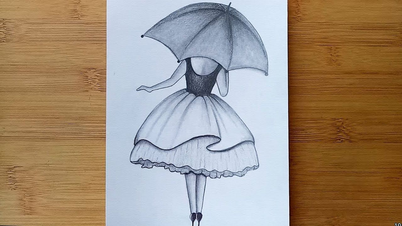 How To Draw A Girl With Umbrella //Pencil sketch step by ...