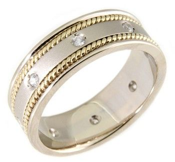 14 KT & DIAMOND TWO TONE WEDDING RING