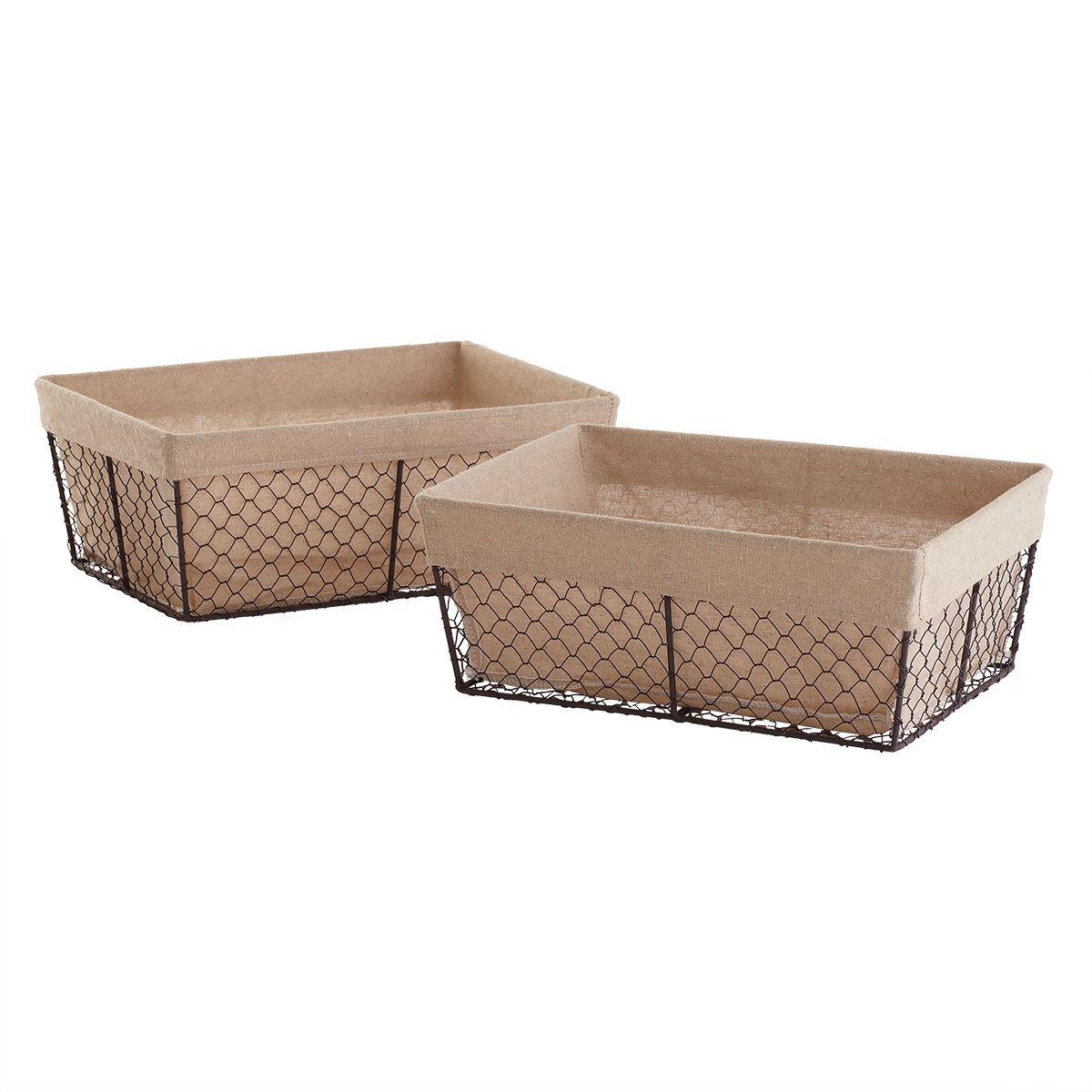 Merveilleux W7034 Linen Lined Wire Baskets   Medium Storage