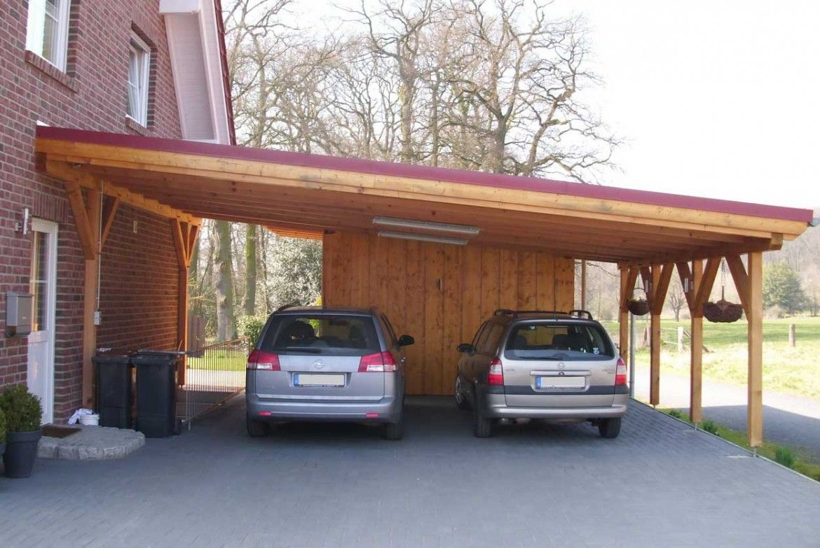 Ideas Laminated Wood Carport Are Two Cars In Gray Carport Roof Is Red And Has Two Lights Are Attached To The Roof Building A Carport Carport Designs Carport