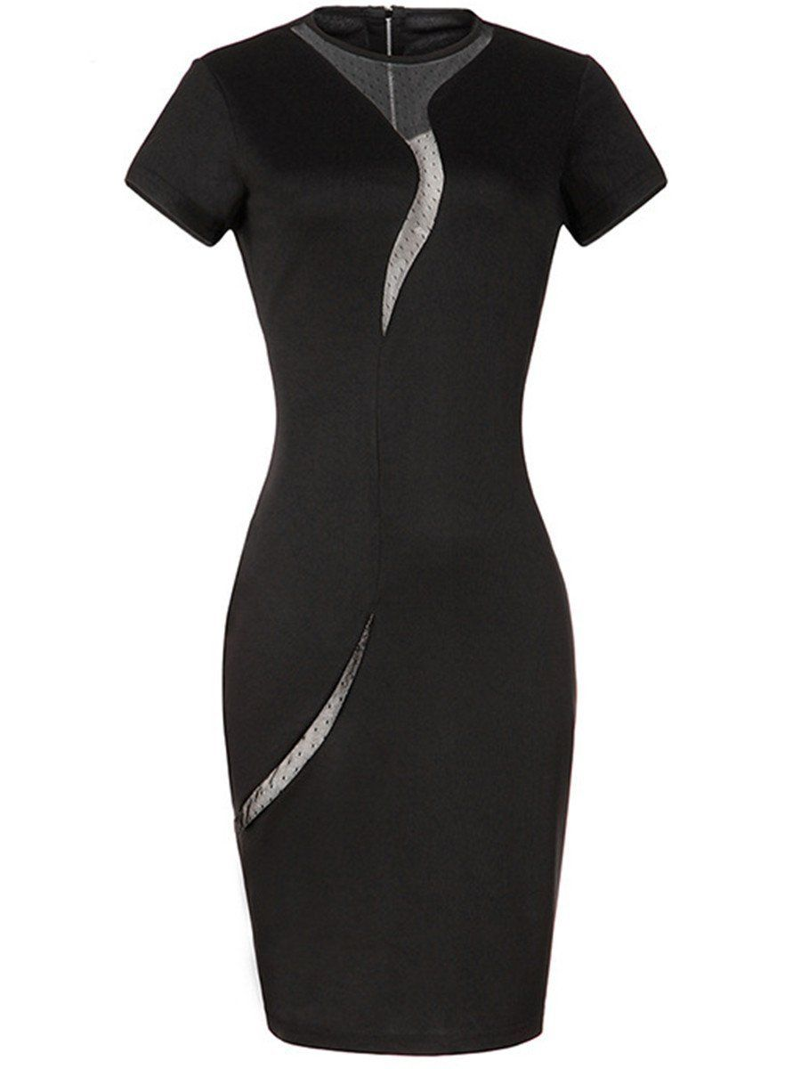 Modern Crew Neck Zips Hollow Out Bodycon Dress 1