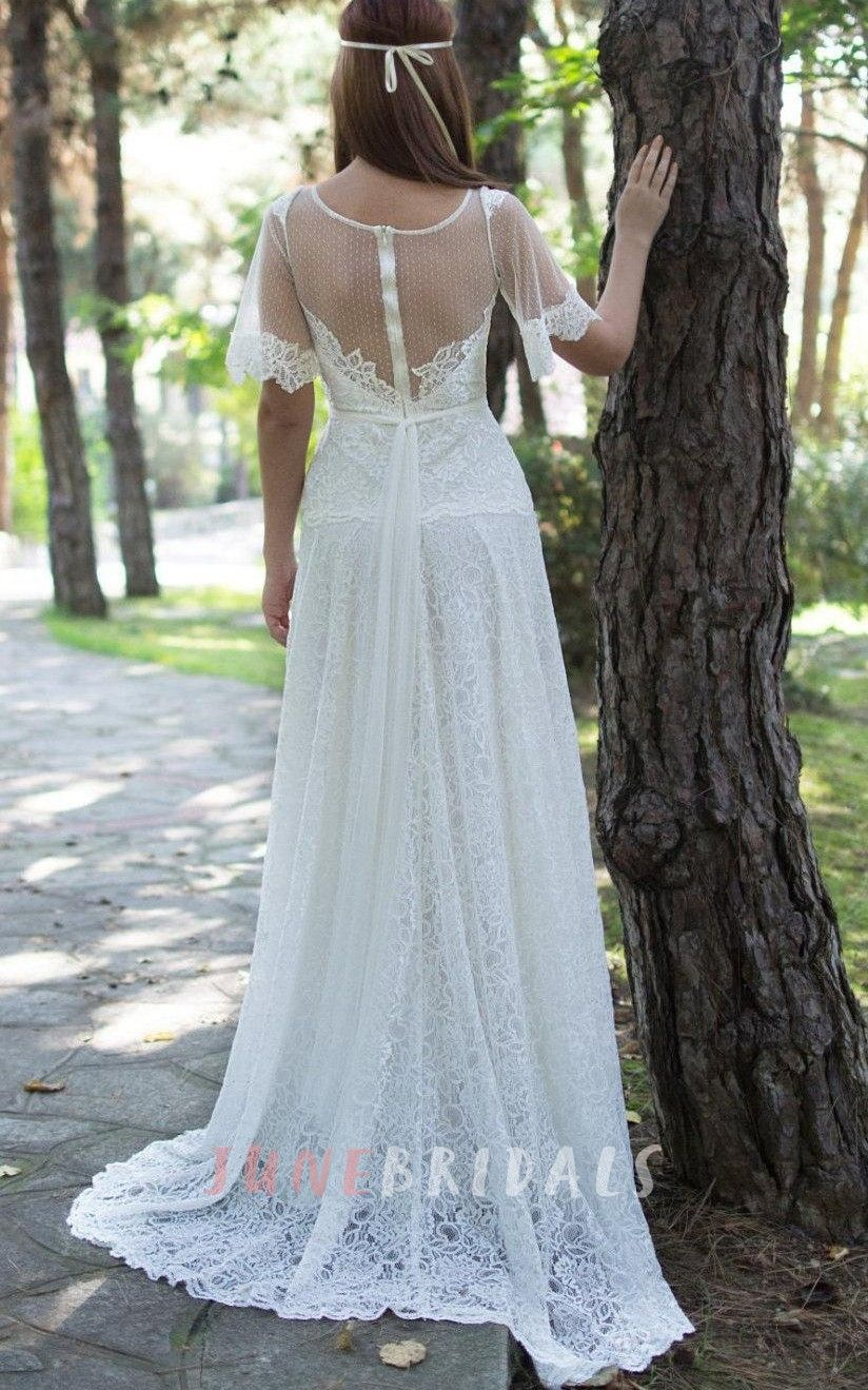 Jewel Short Bell Sleeve Lace Wedding Dress With Illusion Back And ...
