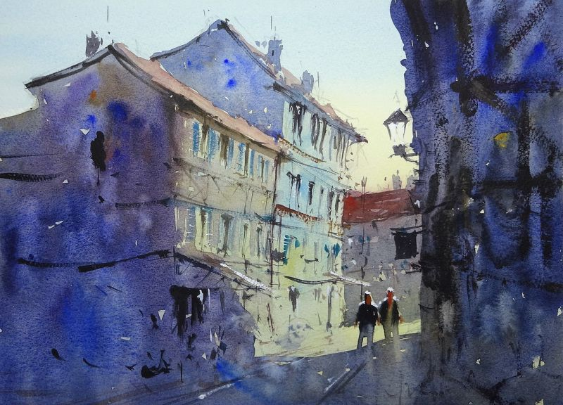 Old Bergerac Streets In Shadow Tim Wilmot Watercolor Painting