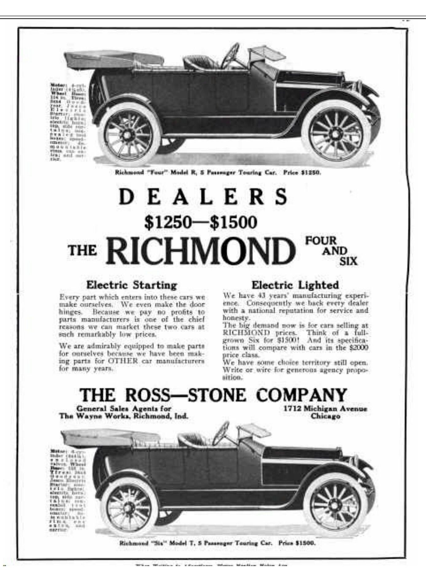 Defunct Vehicle Manufacturers Richmond 4 And 6 Car Advertising Automobile Ads
