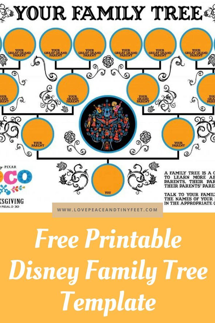 Free Disney Family Tree Template For Kids Pinterest Disney