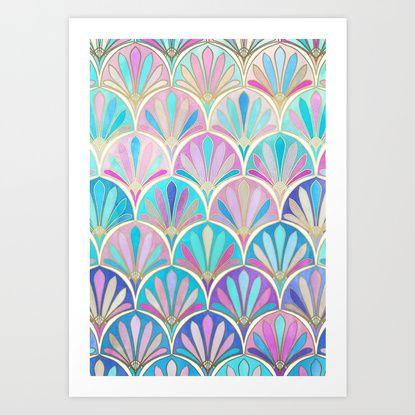 Glamorous Twenties Art Deco Pastel Pattern Print